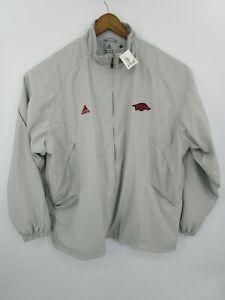 Adidas-Men-039-s-New-Big-Game-Climalite-Warmup-Jacket-Grey-with-Arkansas-Logo-Sz-2XL