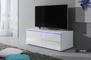 Détails sur Luv meuble TV 100 cm Blanc Noir Gris LED bleue laqué brillant  design salon banc