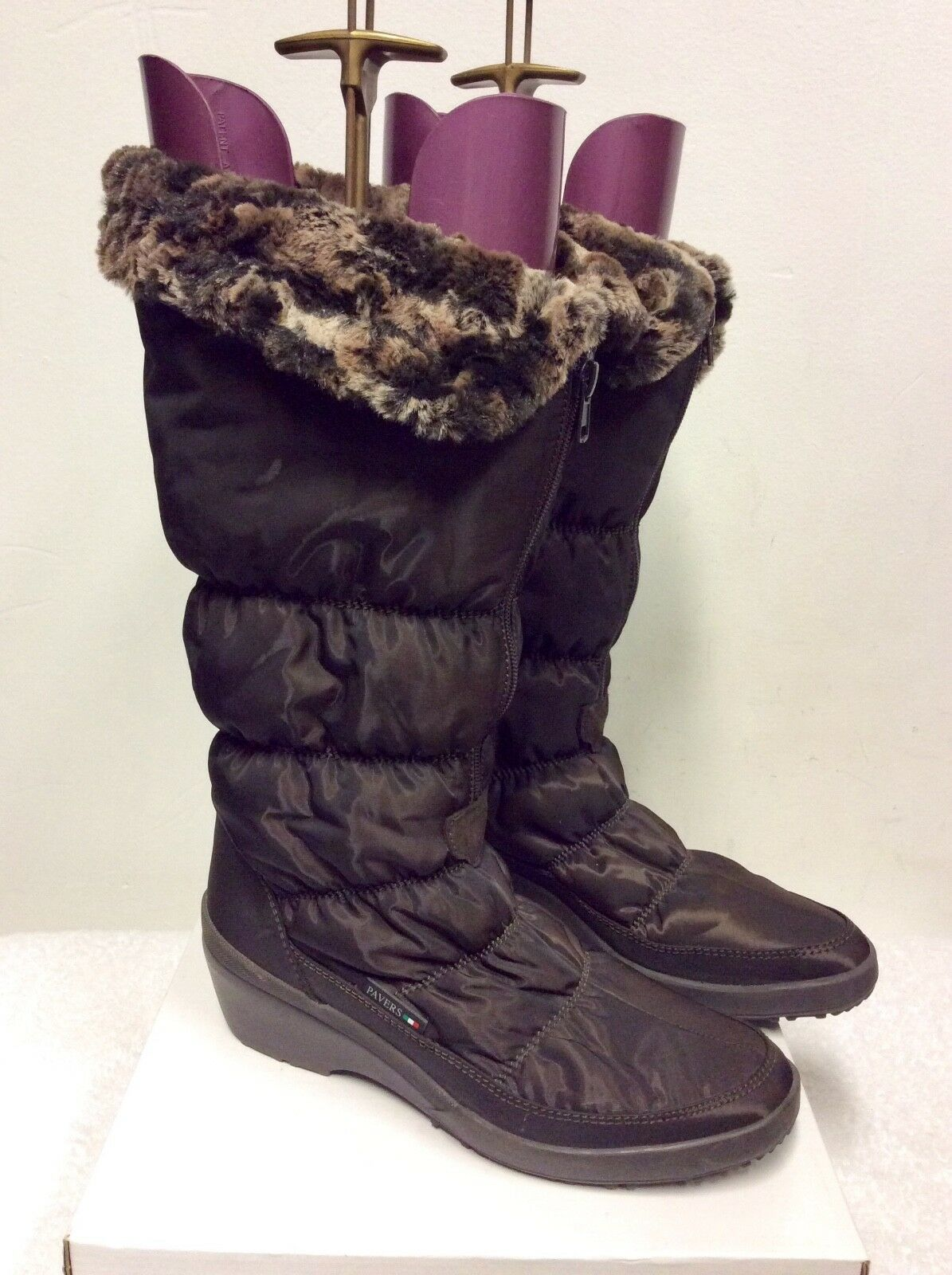 PAVERS BROWN FAUX FUR LINED ZIP UP SNOW BOOTS SIZE 6/39