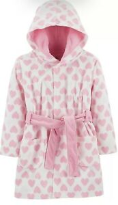 Simple Joys By Carter's Girl Toddler White Pink Hearts Robe 4T-5T EUC