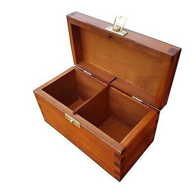 Two Compartments Wooden Box with LidPlain Pine to DecorateTea Storage