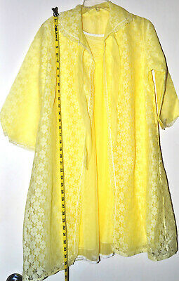 Vintage Slumber Suzy night gown duster yellow tall girl  lingerie with lace trims size S