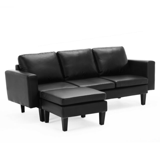 Modern 2pc Configurable Pu Leather Sectional Sofa Set W Ottoman Furniture Black