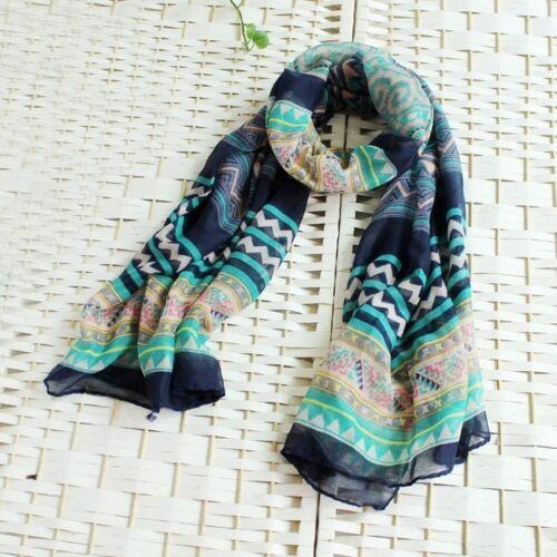 Fashion Retro Bohemian Voile Long Soft Wrap Shawl Beach Swim Scarf  Womens Girl