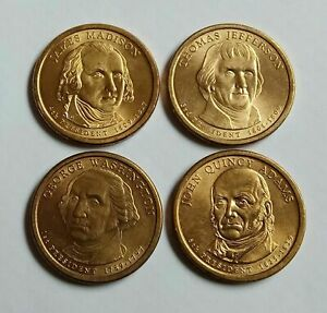 x4-ONE-DOLLAR-1-2007-2008-PRESIDENTS-WASHINGTON-MADISON-ADAMS-JEFFERSON