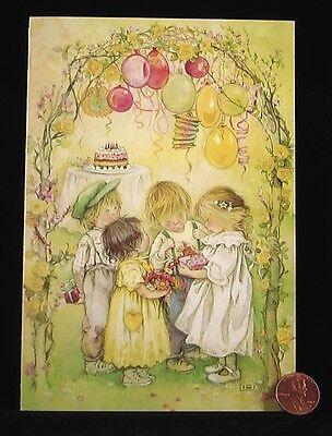 HTF LISI MARTIN Girls Boys Balloons Cake Present - Birthday Greeting Card NEW