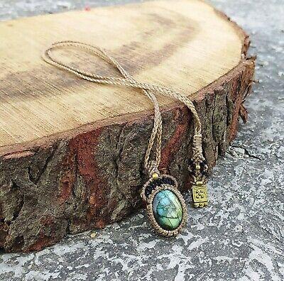 Macrame Necklace Pendant Jewelry Rose quartz Cabochon Stone Handmade Bohemian