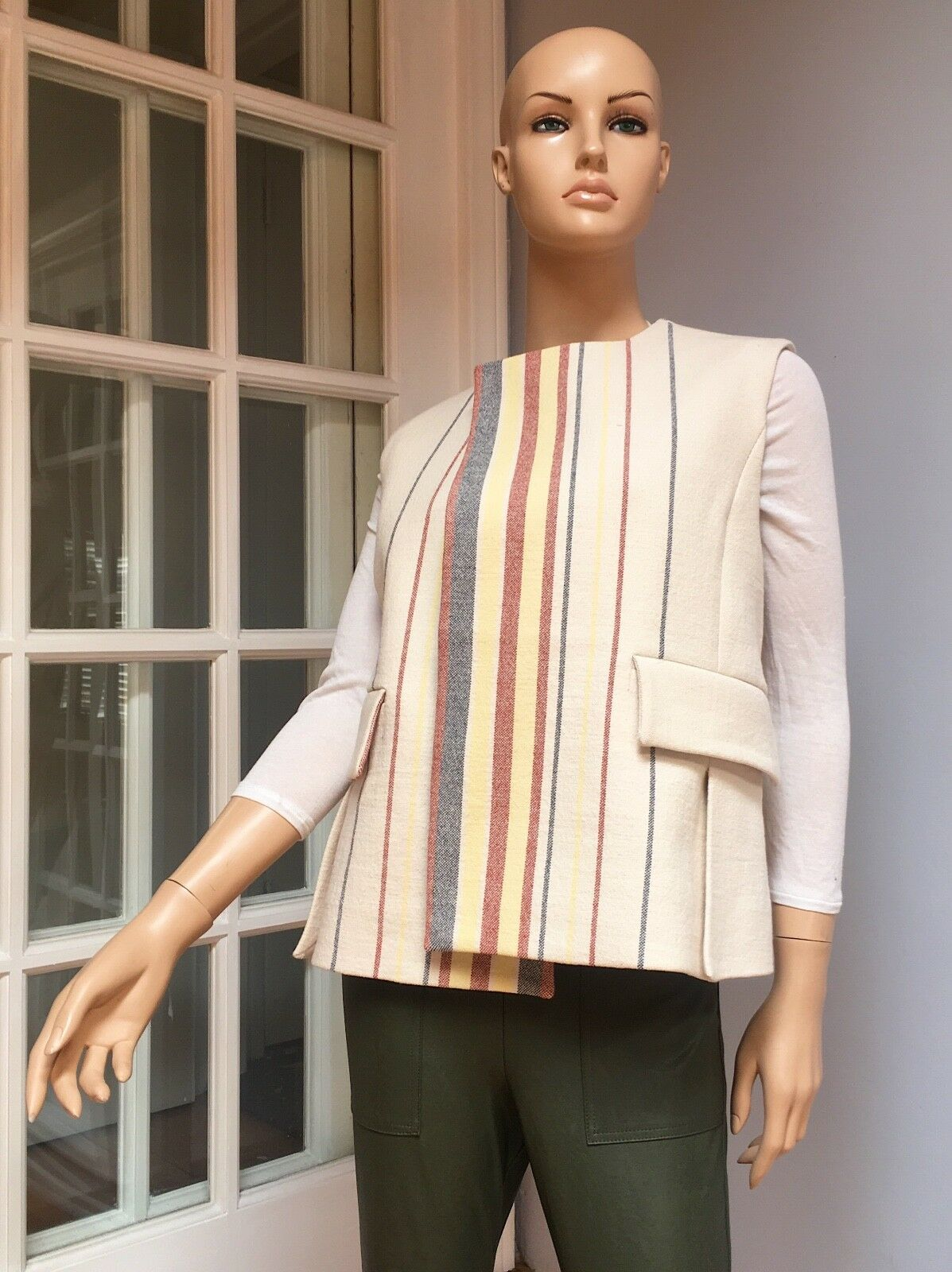BCBG Maxazria Cotton Poplin Blend Striped Vest, Sample, One Size (Fits S M)