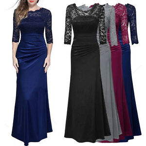 Long-Prom-Lace-Formal-Evening-Cocktail-Party-Bridesmaids-Gowns-Full-Dress-Womens