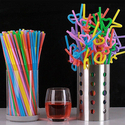 100PCS Multi Colors Cocktail Drinking Wedding Long Flexible Drinking Bendy Straw