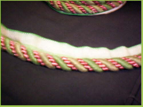 "4yd Lip Cord TRIM 1//2/"" Twisted Mingle CHENILLE GREEN and PINK colors TURKEY NEW"
