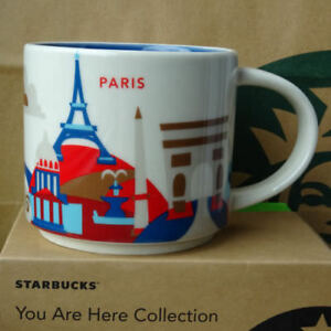 14oz Starbucks Paris You Are Here Coffee Mug Cup Series France City Tea Cups New