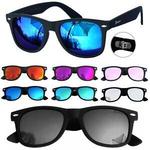 Marken Sonnenbrille Rennec Schwarz Blau Orange Verspiegelt Nerd R12 six Edition
