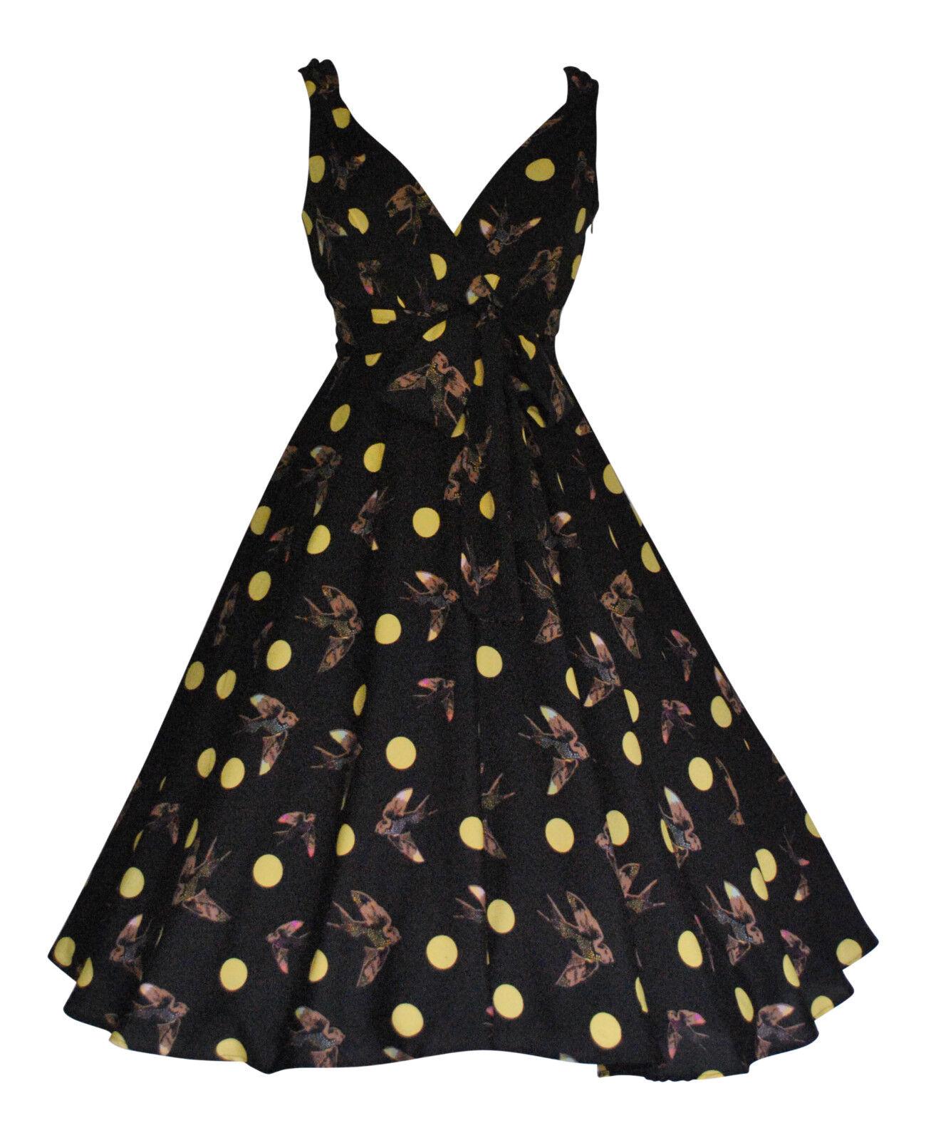 Ladies 1940s 1950s Vintage Style Bird and Polka Dot  Full Circle Swing Tea Dress