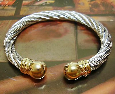 Stainless Steel Magnetic Therapy Bracelet Bangle Armband Twist Wire ROUND CAP GP