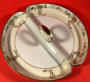"""NIPPON HANDLED DISH HAND PAINTED GOLD MORIAGE 8 1/4"""" DIVIDED ANTIQUE FLORAL"""