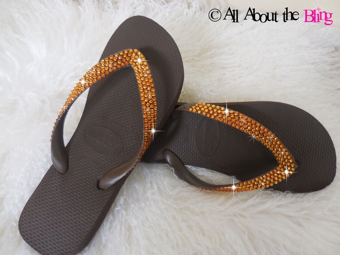 Havaianas Tongs ou WEDGE marron 450-500 Topaze Cristaux Swarovski Superbe