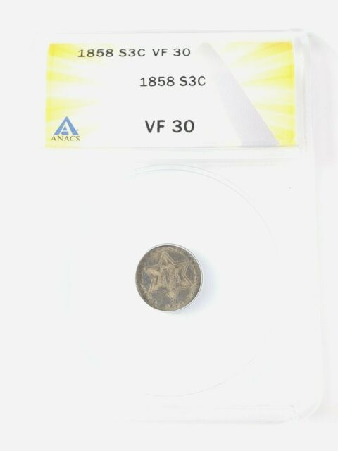 Nice Circulated 1858 Three Cent Silver Graded by ANACS as a VF-30