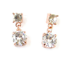 Rose Gold Silver Diamante Drop Earrings Bridal Stud Wedding Crystal Art Deco 965