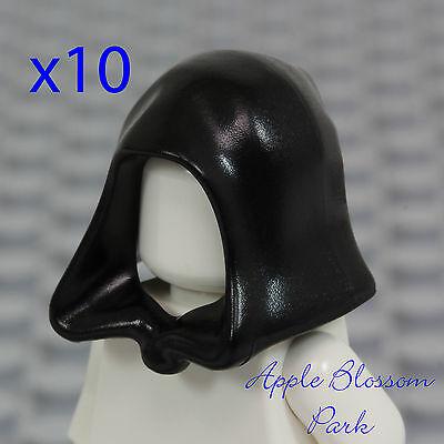 NEW Lego Lot/10 Minifig BLACK HOOD - Star Wars Jedi/Castle Kingdoms Skeleton Hat