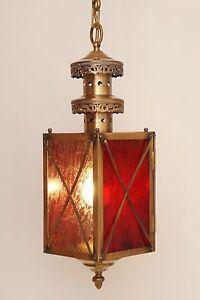 Einmalige-Jugendstil-Flurlaterne-Deckenlampe-Haengeleuchte-Messing-Eisblumenglas
