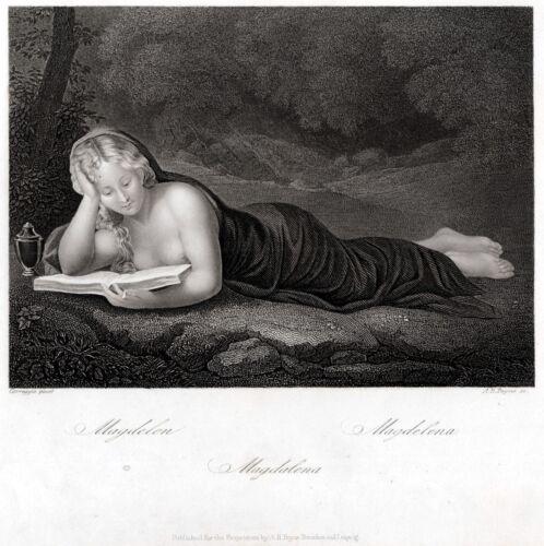 Maria Maddalena leggente,del Correggio.2.Acciaio.Steel Engraving.STAHLSTICH.1850