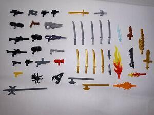 LEGO-Star-Wars-Ninjago-etc-Accessory-lot-of-40-Weapons-Swords