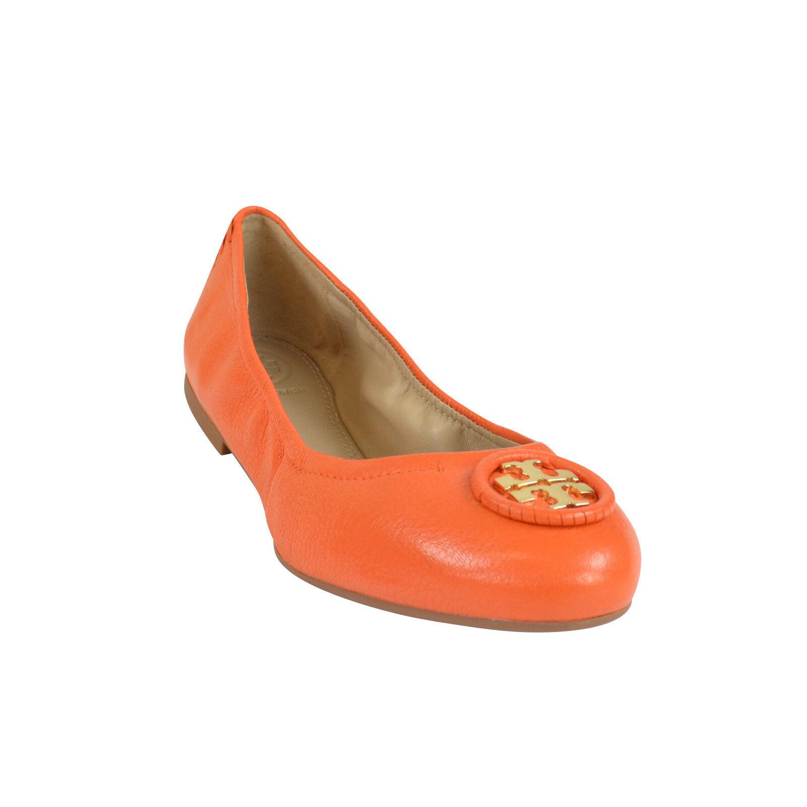 NIB Tory Burch ALLIE Wrapped Logo Ballet Flats Schuhes in Mango Orange 8.5