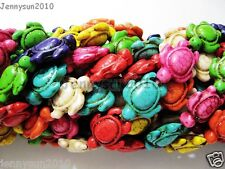 Mix Color Howlite Turquoise Carved Turtle Spacer Beads 14.5mm x 18mm 16'' Strand