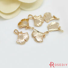 (30657)6PCS 14x16MM 24K Gold Plated Brass Ginkgo Leaves tree leafs Charms