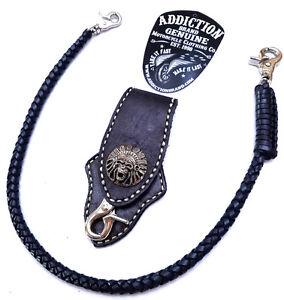 Biker-Skull-Indian-Chief-Trucker-Leather-Belt-Clip-Key-Holder-with-braided-chain