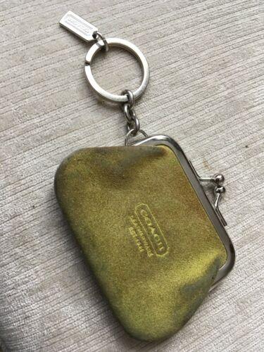 COACH SUEDE FRAMED KISSLOCK KEY RING WRISTLET W. … - image 1
