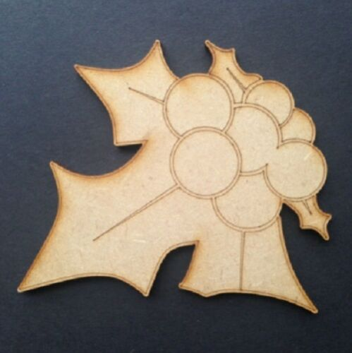 Wooden MDF Christmas Shapes Tree Star Holly Xmas Decoration Plaque Craft Blank