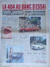 L'AUTO JOURNAL 1960 248 ESSAI PEUGEOT 404 LANCIA FLAMINIA TOURING 24H DU MANS