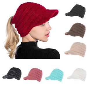 ad2ef147 Hot Women Lady Ponytail Brim Cap Winter Warm Baggy Beanie Knit Hat ...