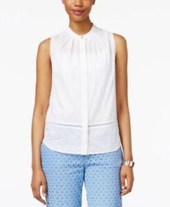 c805d5cbcf6b0 Anne Klein NEW Women s Sleeveless Button Up Shirt Optic White Size ...