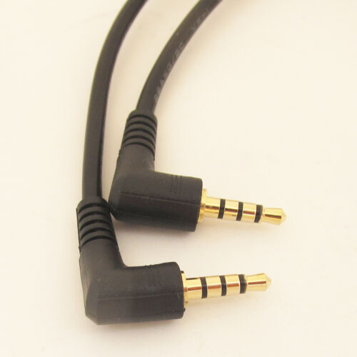 US 1pc Gold Right Angle 3.5mm 4 Pole Male to 4 Pole Female Audio Adapter Cable