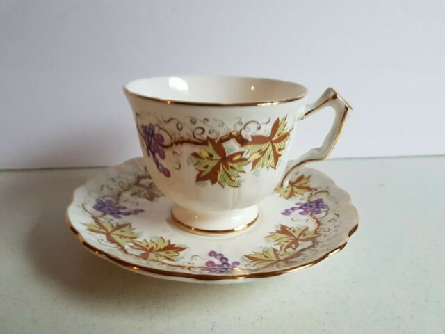 Aynsley England Fine Bone China Cup and Saucer Purple Grape Model Vintage