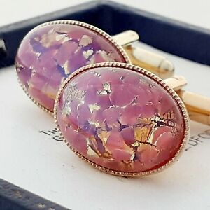 Vintage-1950s-CZECH-Rose-Gold-Glass-Fire-Opal-Oval-Gold-Plated-Cufflinks