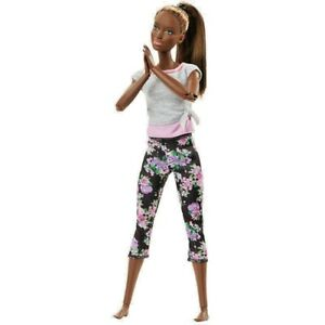 Barbie-Made-to-Move-Doll-African-American-MINT-Floral-Grey-Top-MINT-FTG83