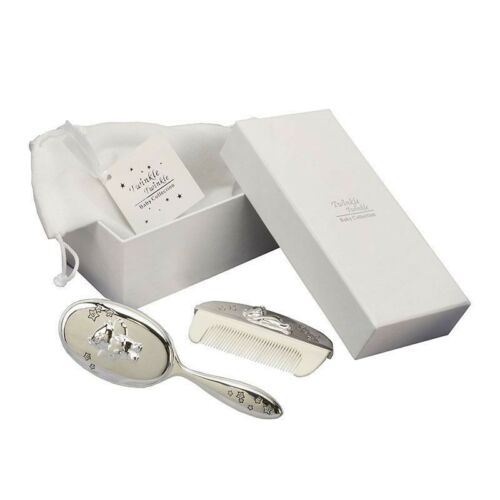 Twinkle Twinkle Silver Plated Brush /& Comb Set Christening Gift Box CG309C NEW