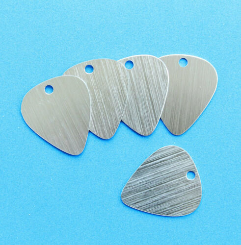 10 Guitar Pick Stamping Tags Anodized Aluminum Brushed Silver MT151