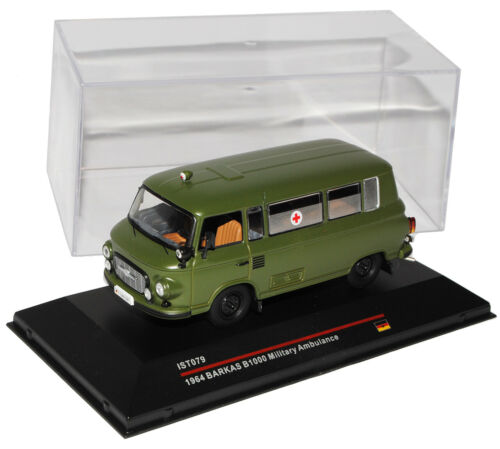 Barkas B1000 Ambulance Militär Arme NVA DDR Grün 1964 IST079 1//43 Ist Ixo Modell