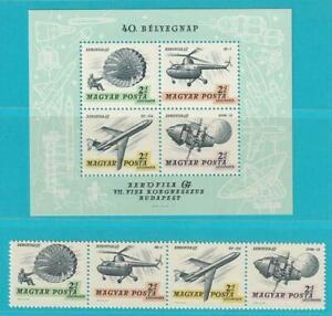Hungria-De-1967-Postfrisch-Minr-2351-2354-Bloque-59-Correo-Aereo-Helicoptero