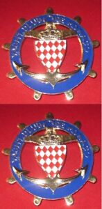 YACHT-CLUB-DE-MONACO-SET-OF-2PCS-CAR-GRILL-BADGE-EMBLEM-MG-JAGUAR-TRIUMPH-PORSC