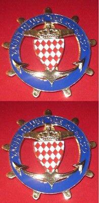 Car Badges Badges & Mascots set Of 2pcs Car Grill Badge Emblem Enamled Logos Yacht Club De Monaco