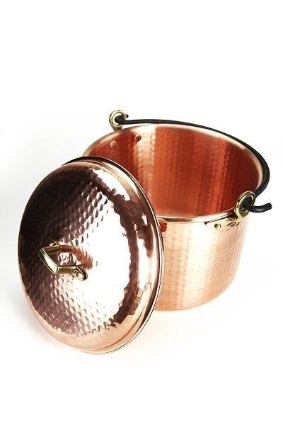 CopperGarden® Kupfertopf ❀ 12 Liter ❀ Gehämmert mit Henkel ❀ Kupferkessel Topf