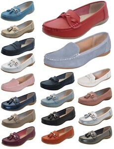 Women-Leather-Flat-Loafer-Ladies-Casual-Slider-Low-Wedge-Work-Moccasins-Shoes