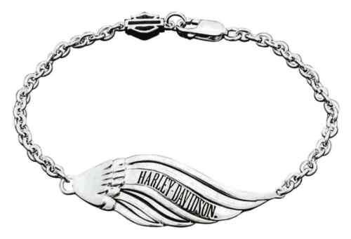 Silver HDB0352 Harley-Davidson Women/'s Pierced Wing Sterling Silver Bracelet