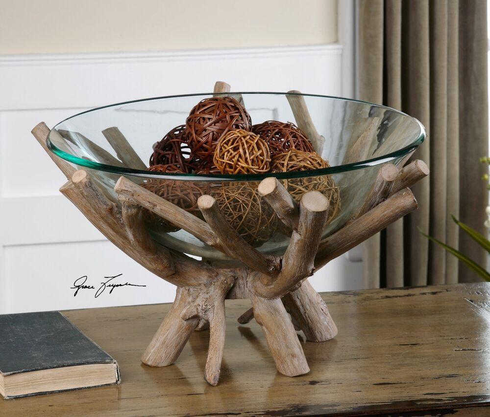 "XXL 20"" MODERN FARMHOUSE CLEAR GLASS DECORATIVE BOWL RUSTIC NATURAL WOOD BASE"